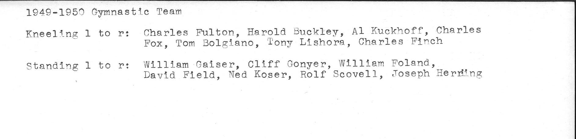 1949-1950 Gymnastics team roster