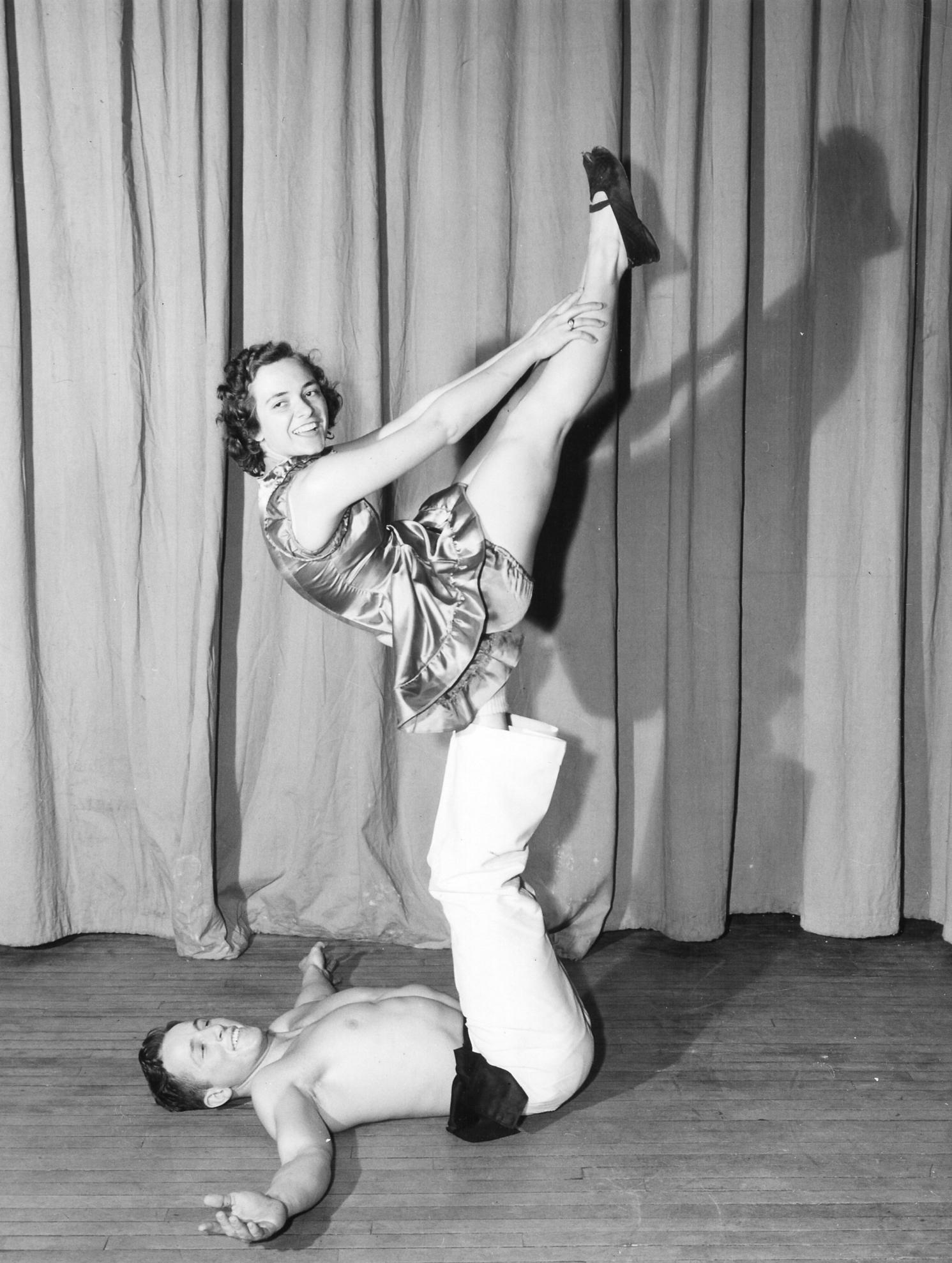 Gymkana Doubles Balancing V-Up, Charles Finch and Dorothy Drake 1948