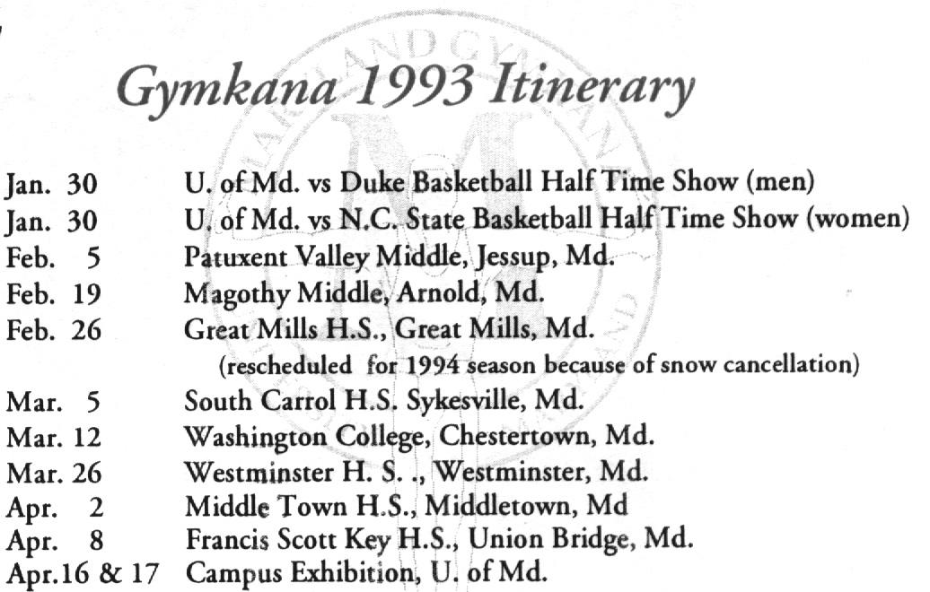 1993 Itinerary