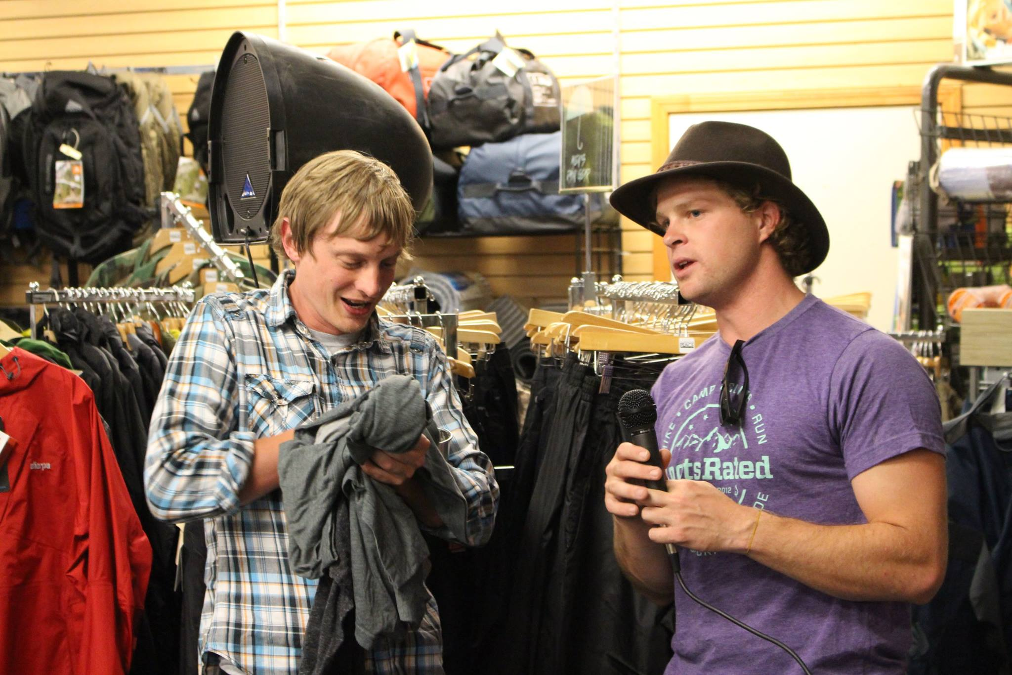 Raffling off gear at a local pint night at Peace Surplus.