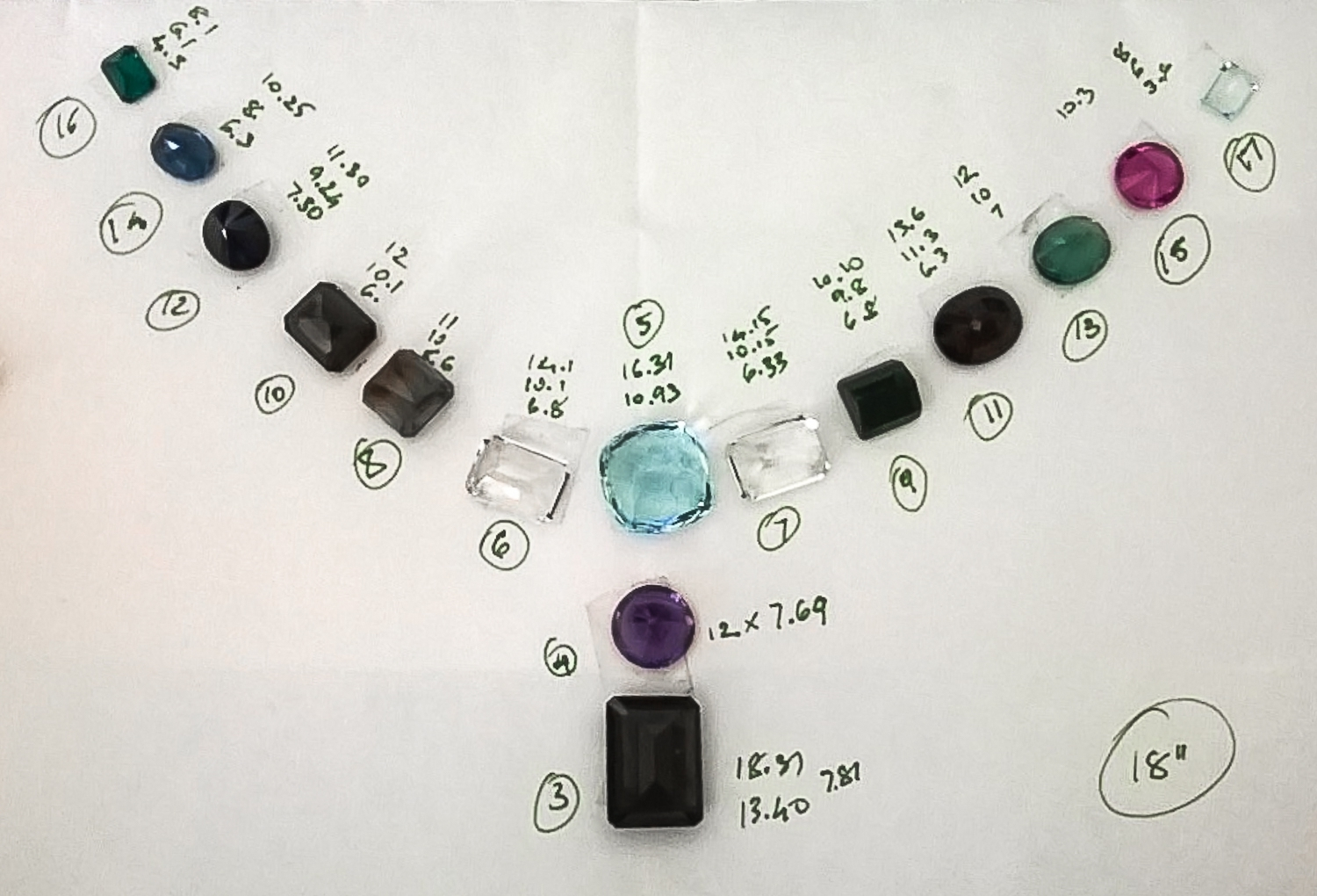 We lay them out on a diagram in the appropriate sequence and spacing.  Each gem is measured and giving an identifying number in the layout.