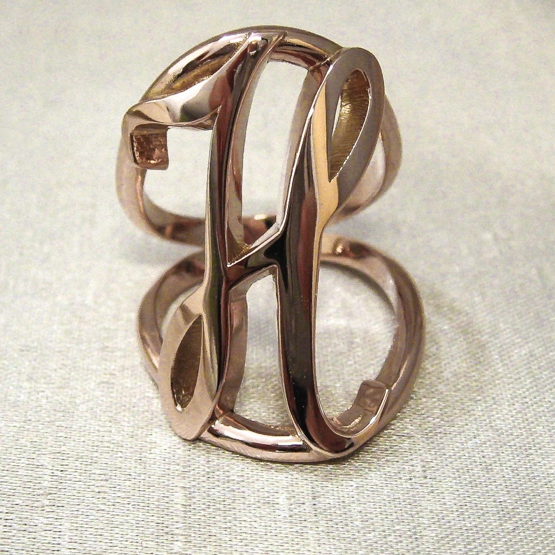 Rose Gold Initial H Ring.