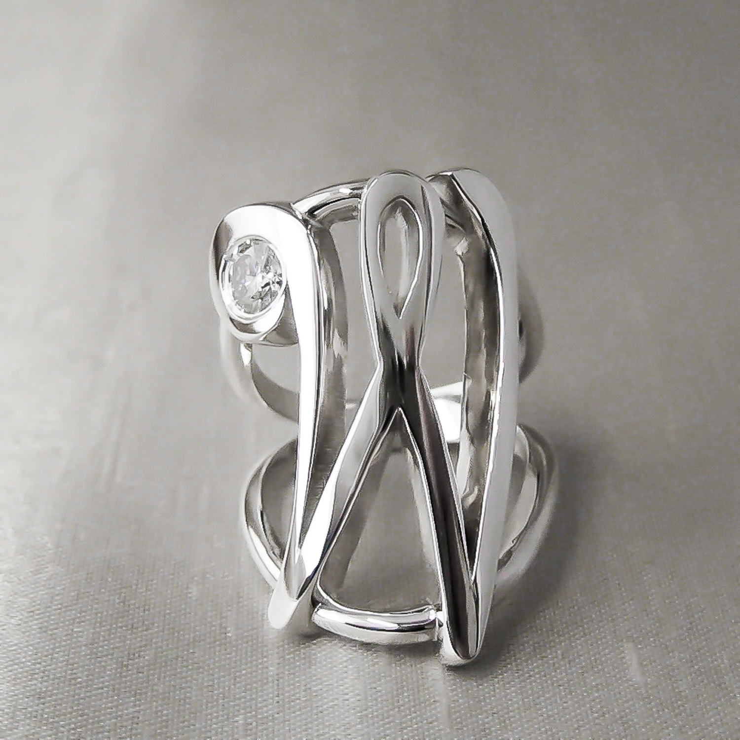 Sterling Silver Initial W Ring with Diamond.