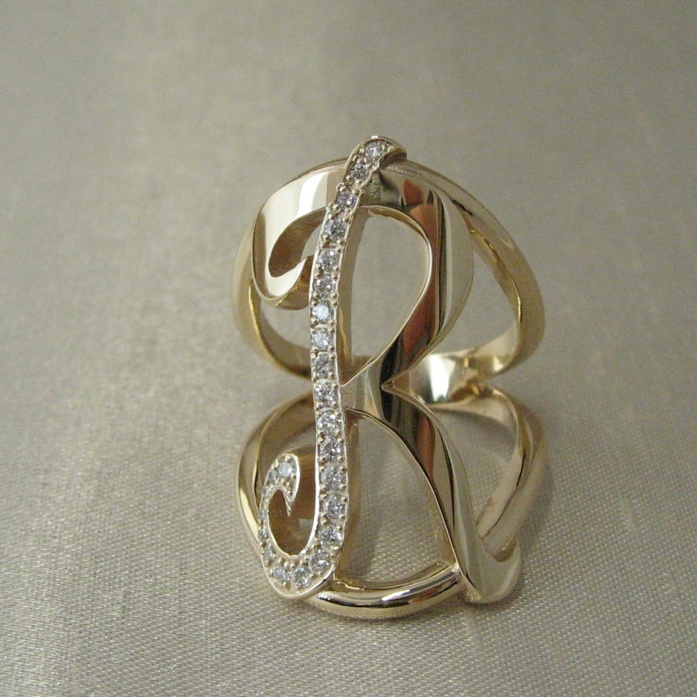 Yellow Gold Initial R Ring with Diamonds.