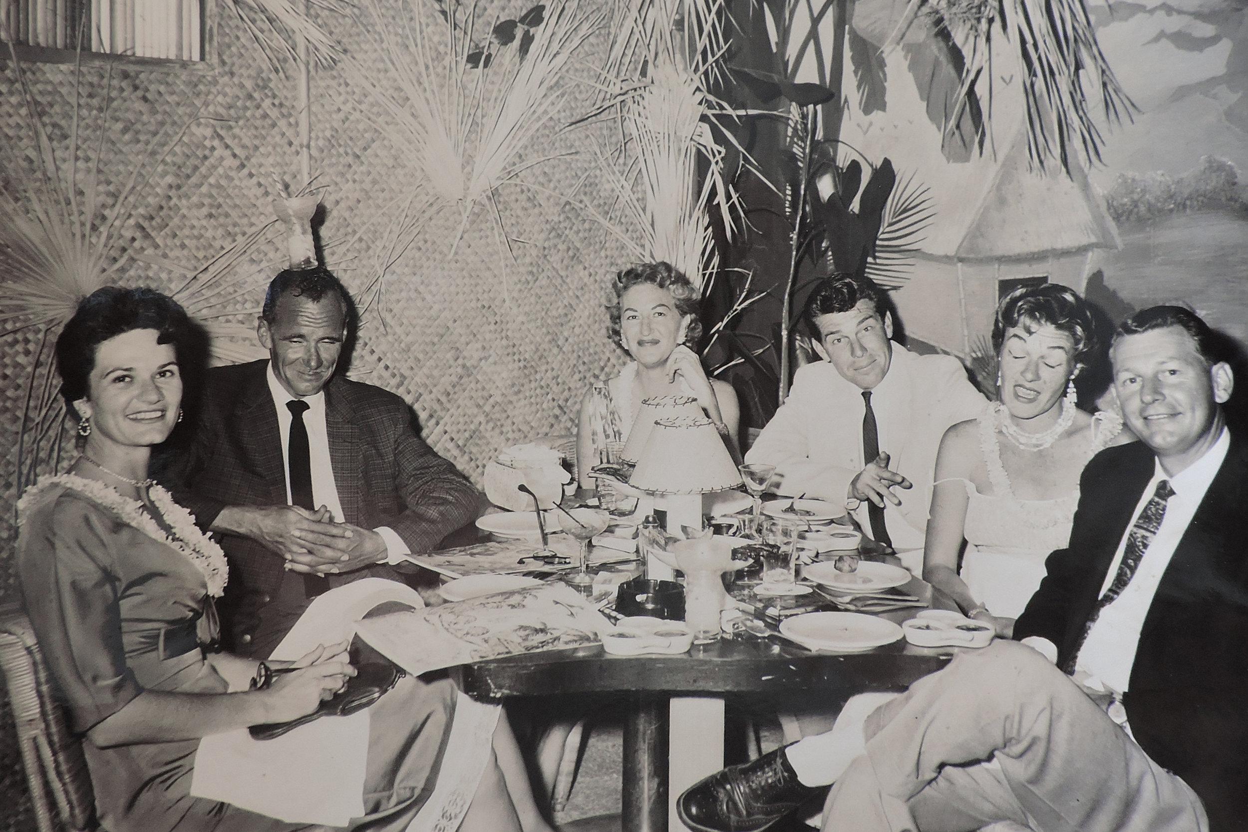 Nancy Hawthorne (far left) and Cal Hawthorne (far right) with friends.