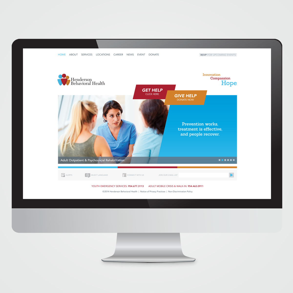 Website design for Henderson Behavioral Health, the largest behavioral health organization in South Florida
