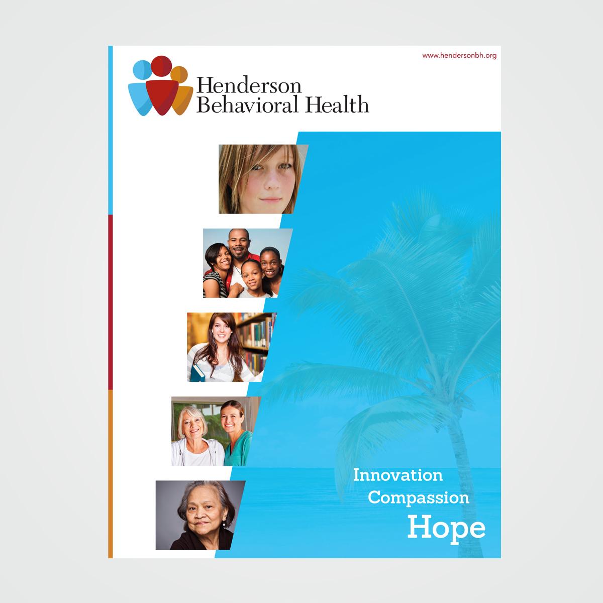 Brochure design for Henderson Behavioral Health, the largest behavioral health organization in South Florida