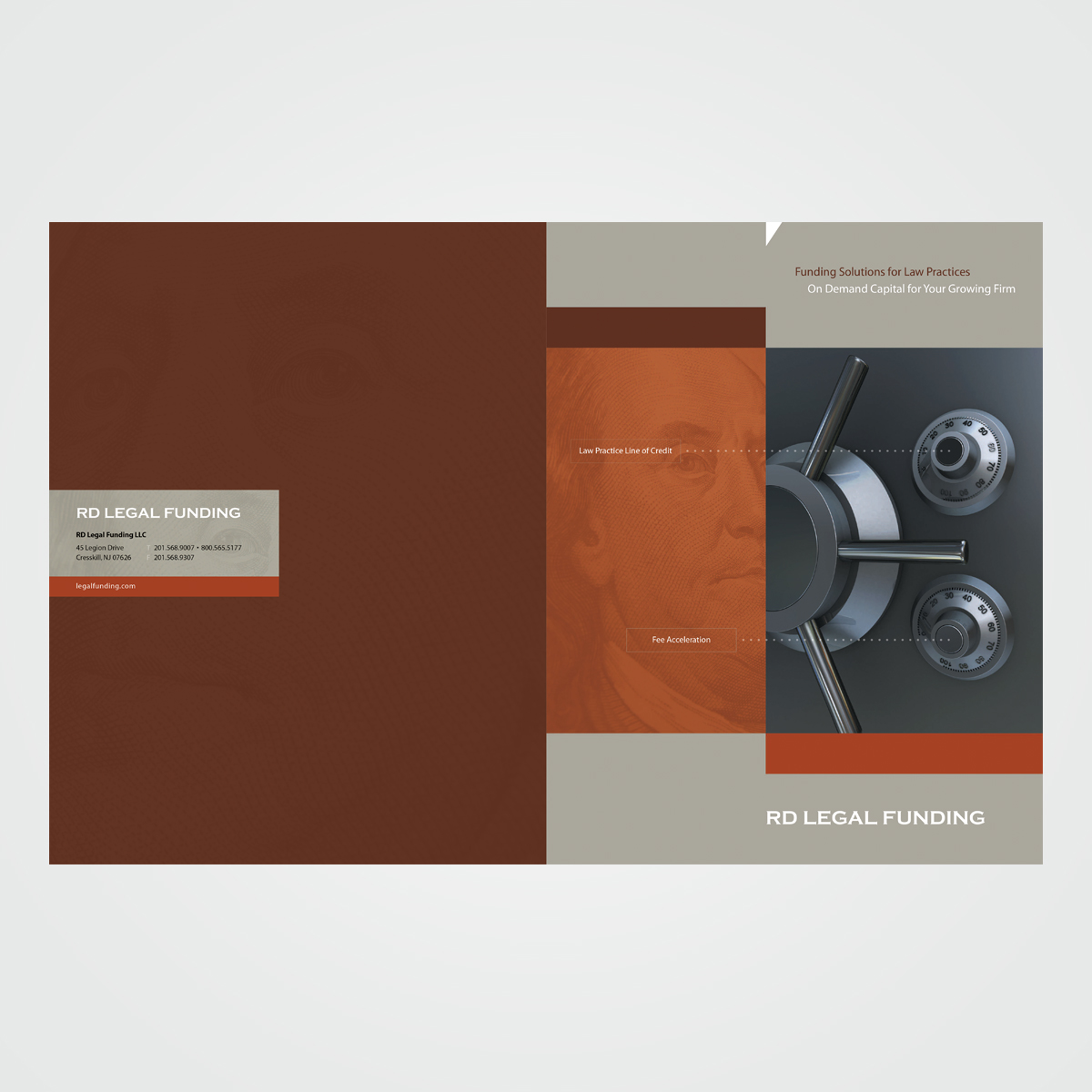 Corporate brochure for RD Legal Funding, a NYC-based financial services company specializing in loans to law firms