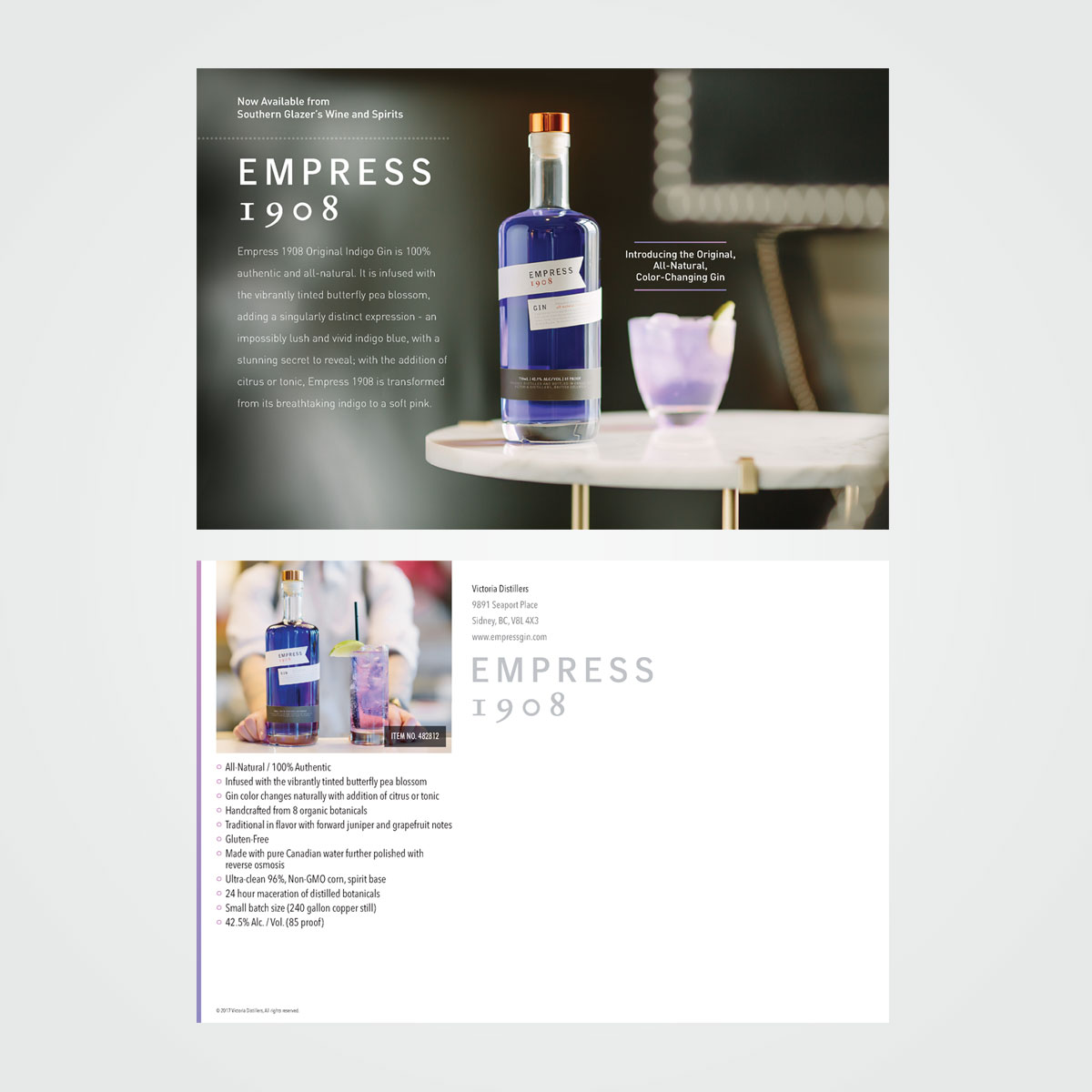 Direct mail postcard for Empress 1908 Gin
