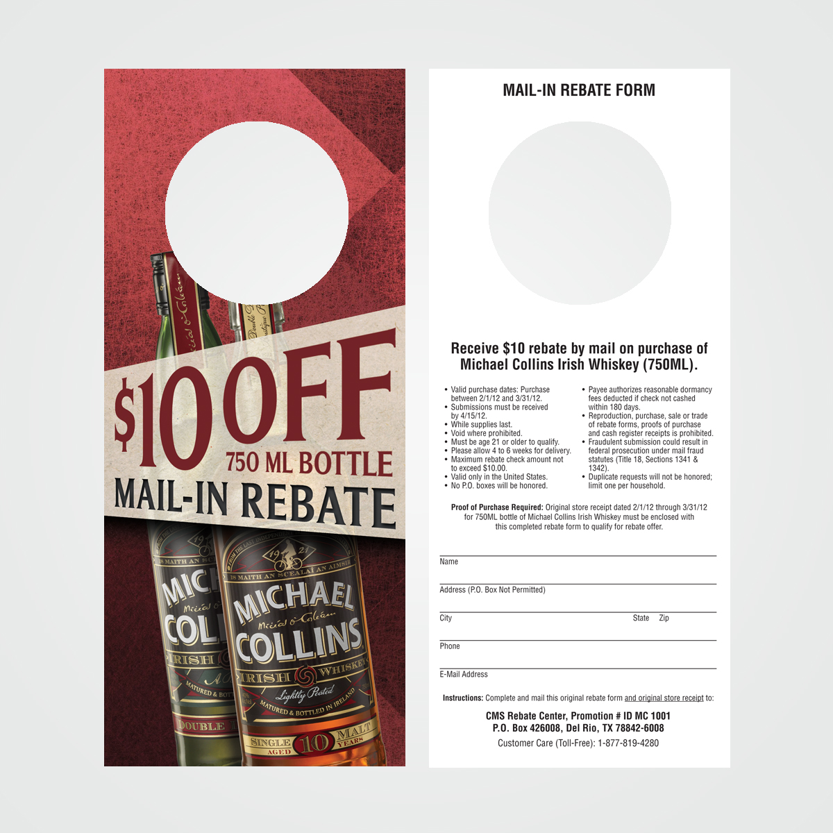 POS bottle necker rebate coupon for Michael Collins Irish Whiskey