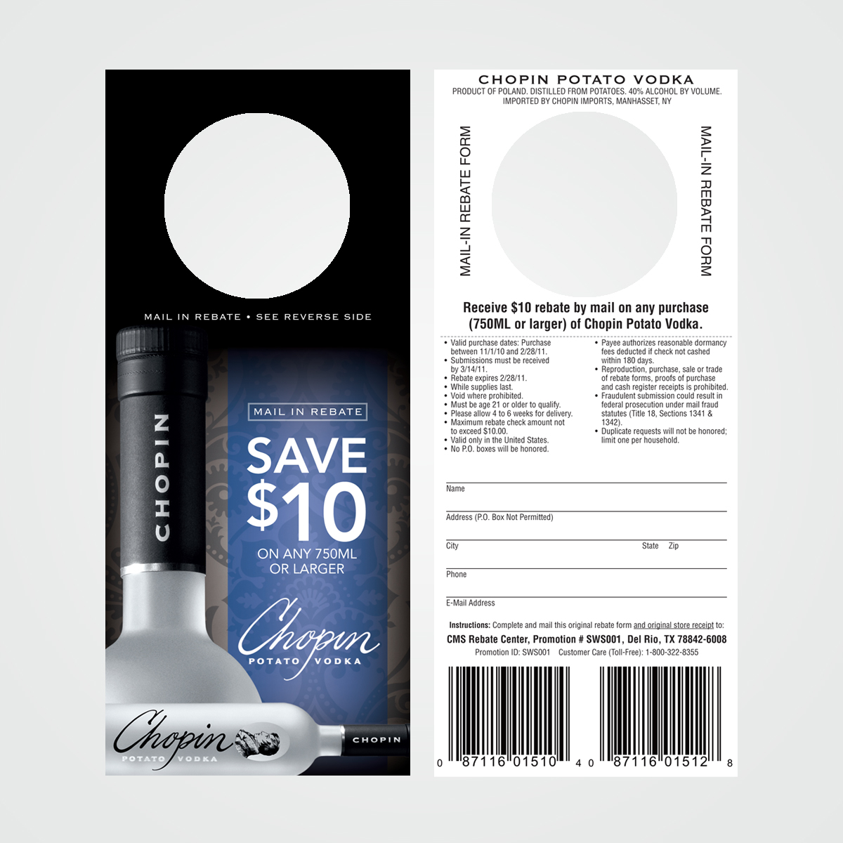 POS instant rebate coupon / necker design for Chopin Vodka