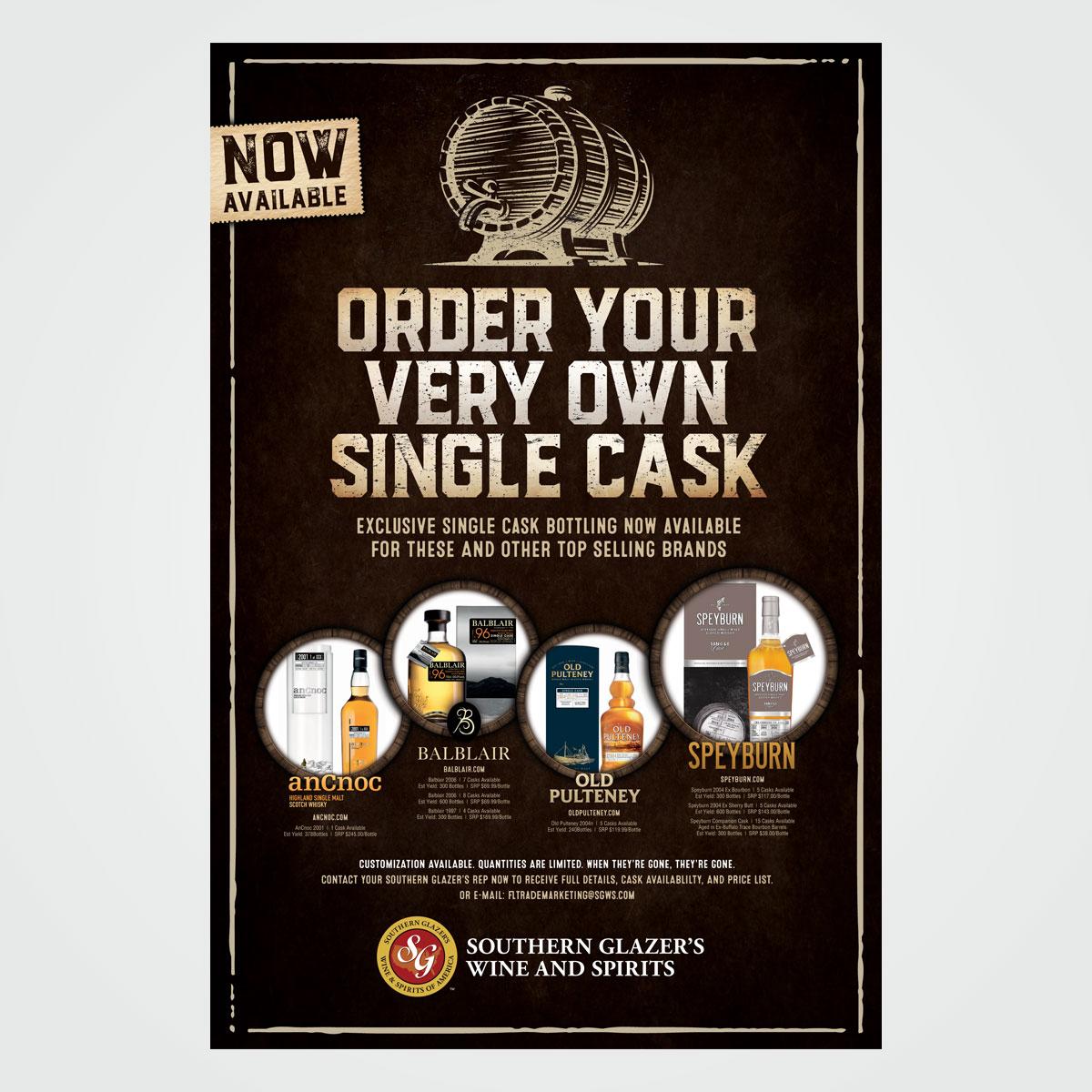 Poster design for Southern Glazer's Wine & Spirits promoting single cask program
