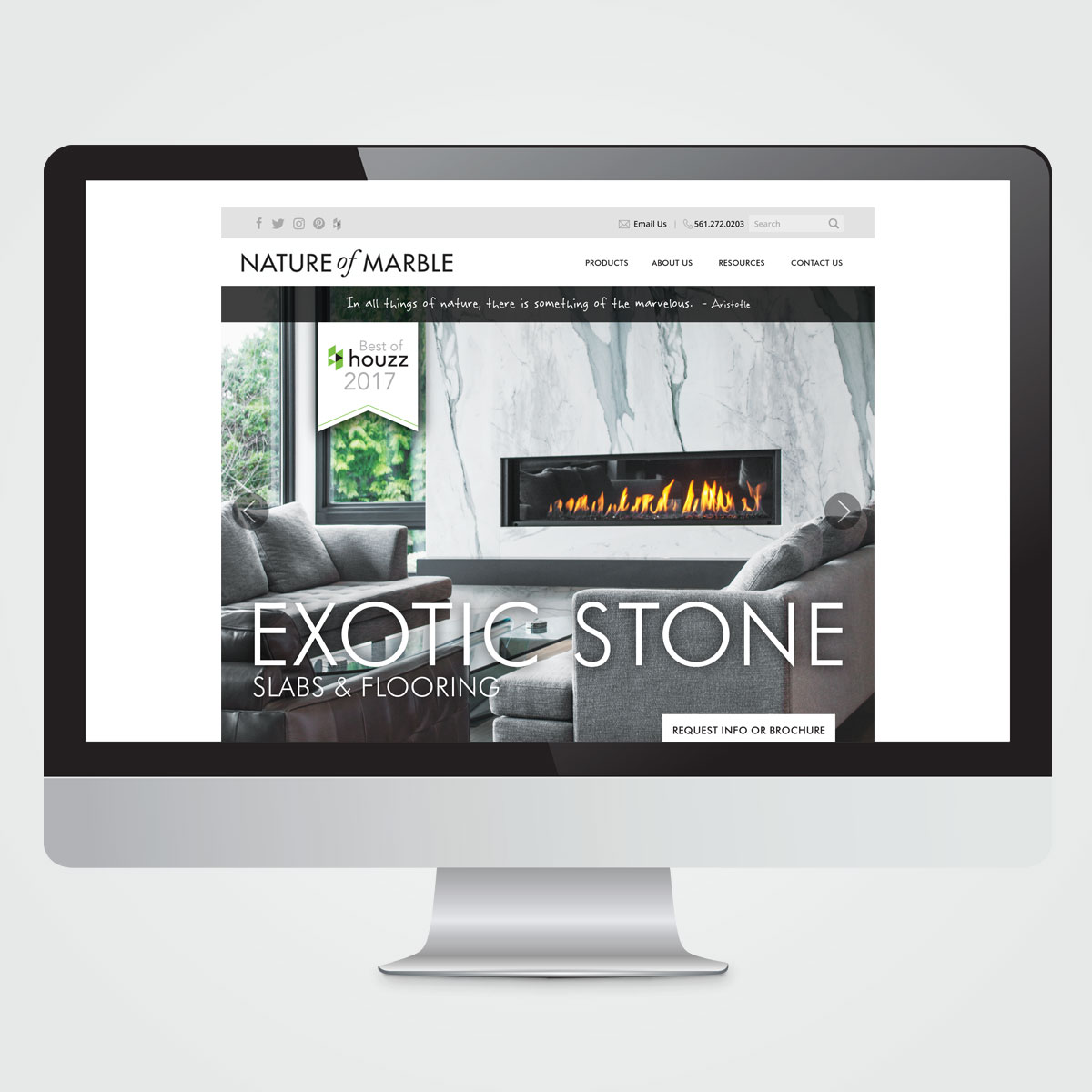 Website design for Nature of Marble, Delray Beach, FL