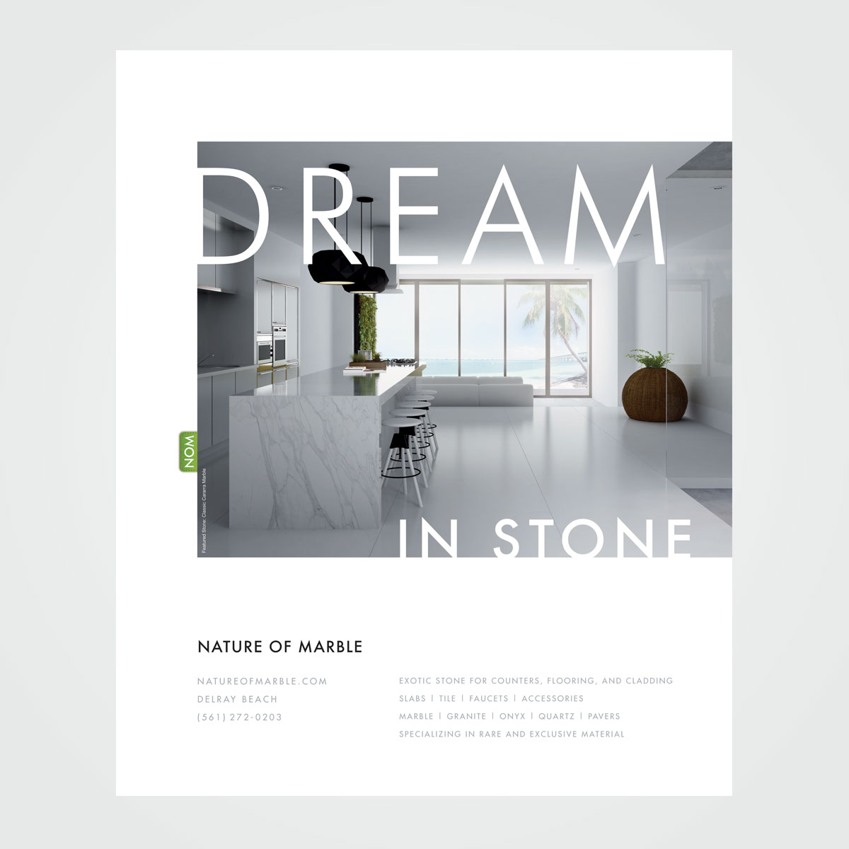 Proposed magazine ad design for Nature of Marble, Delray Beach