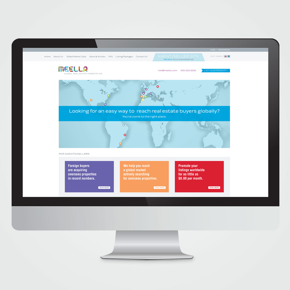 Website design for Meela, a real estate marketing website with international reach