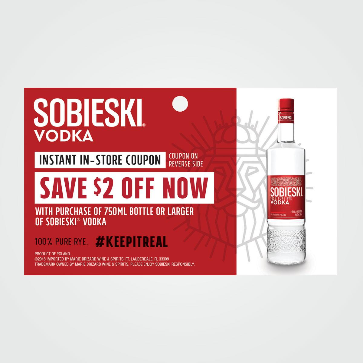 POS shelf talker / tear off instant rebate coupon design for Sobieski Vodka