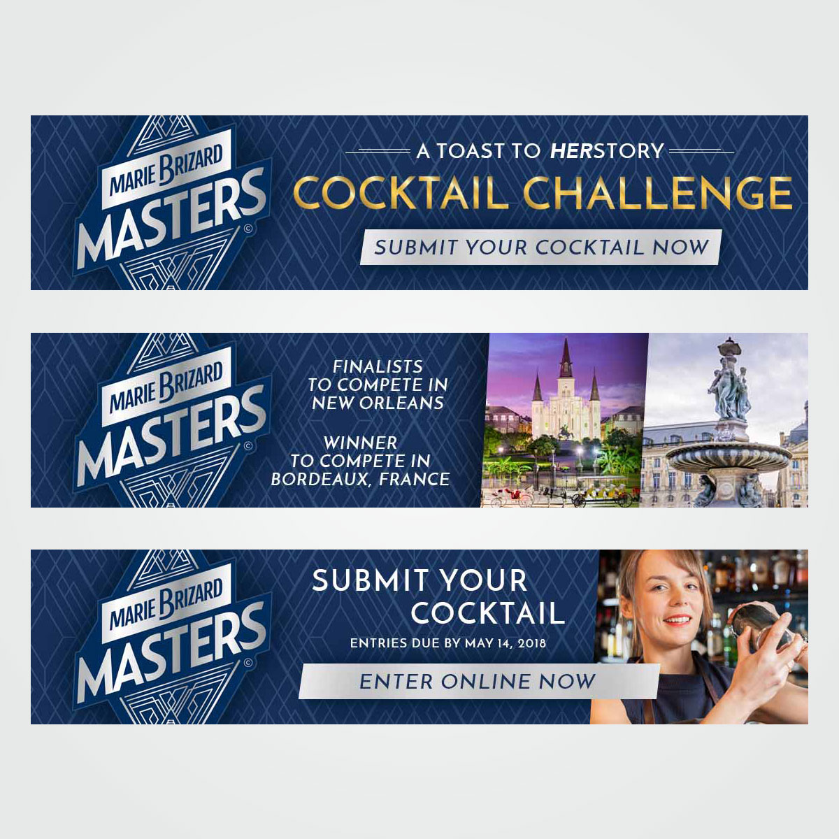"""Online / digital ad design for """"Masters Cocktail Challenge"""" promotion sponsored by Marie Brizard"""