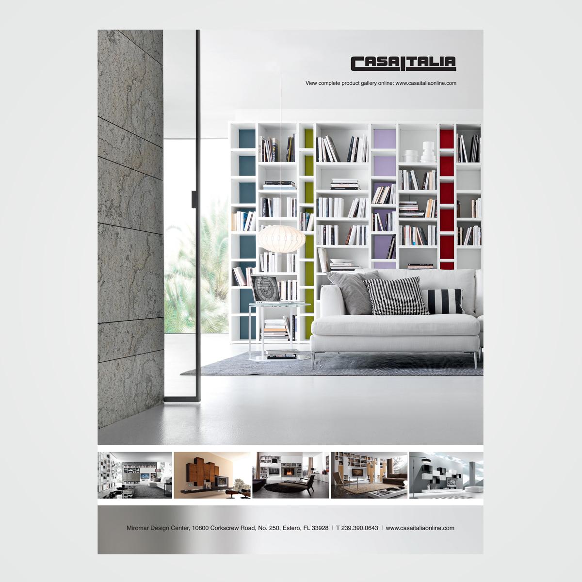 Magazine ad design for Casa Italia, an exclusive showroom representing leading contemporary Italian furniture manufacturers