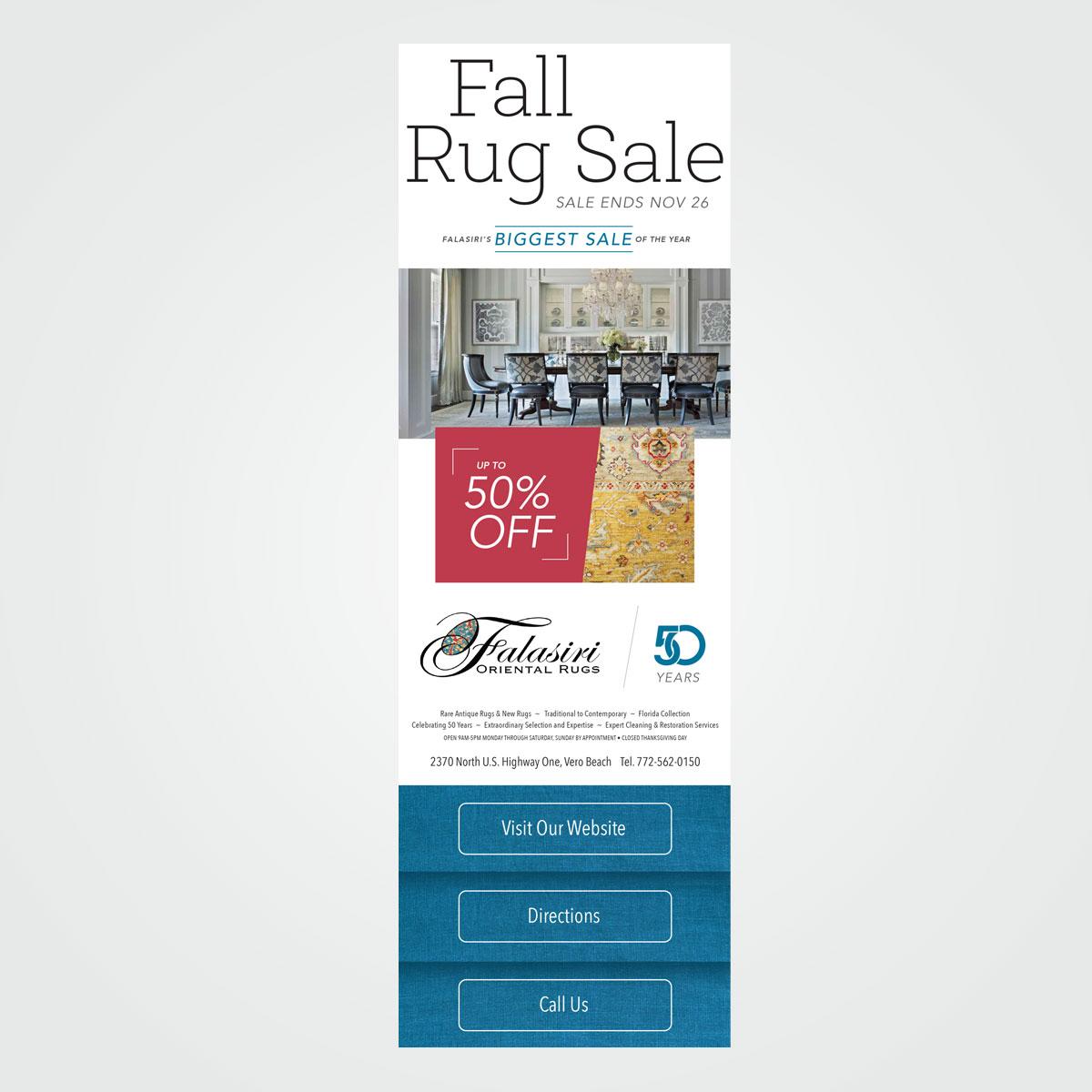 E-mail marketing graphics for Falasiri Rugs