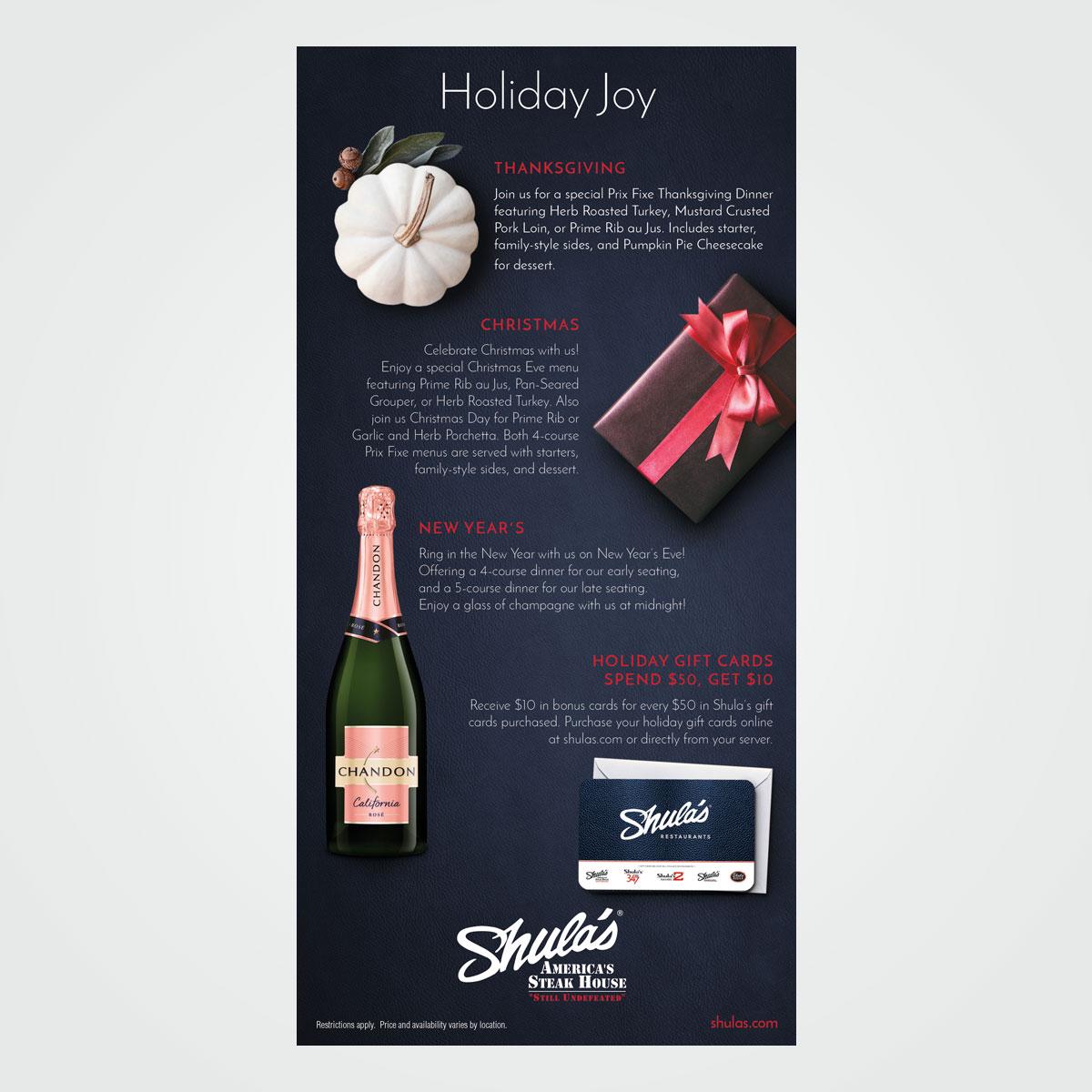 Holiday check presenter for Shula's Restaurants