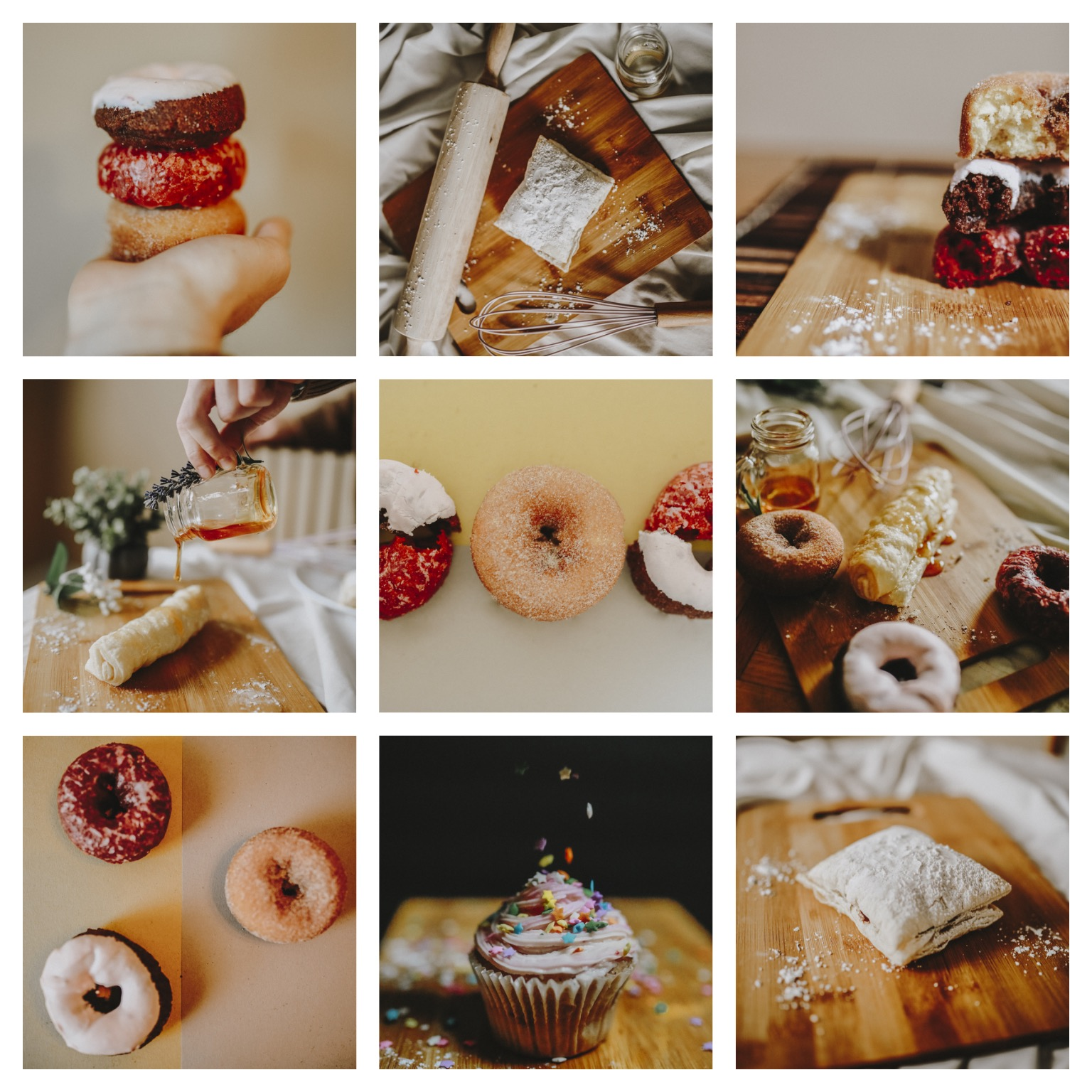 Instagram Food Mockup two: - Examples of what an instagram page I put together can look like aesthetically. This one has more of a yellow, red warm undertone