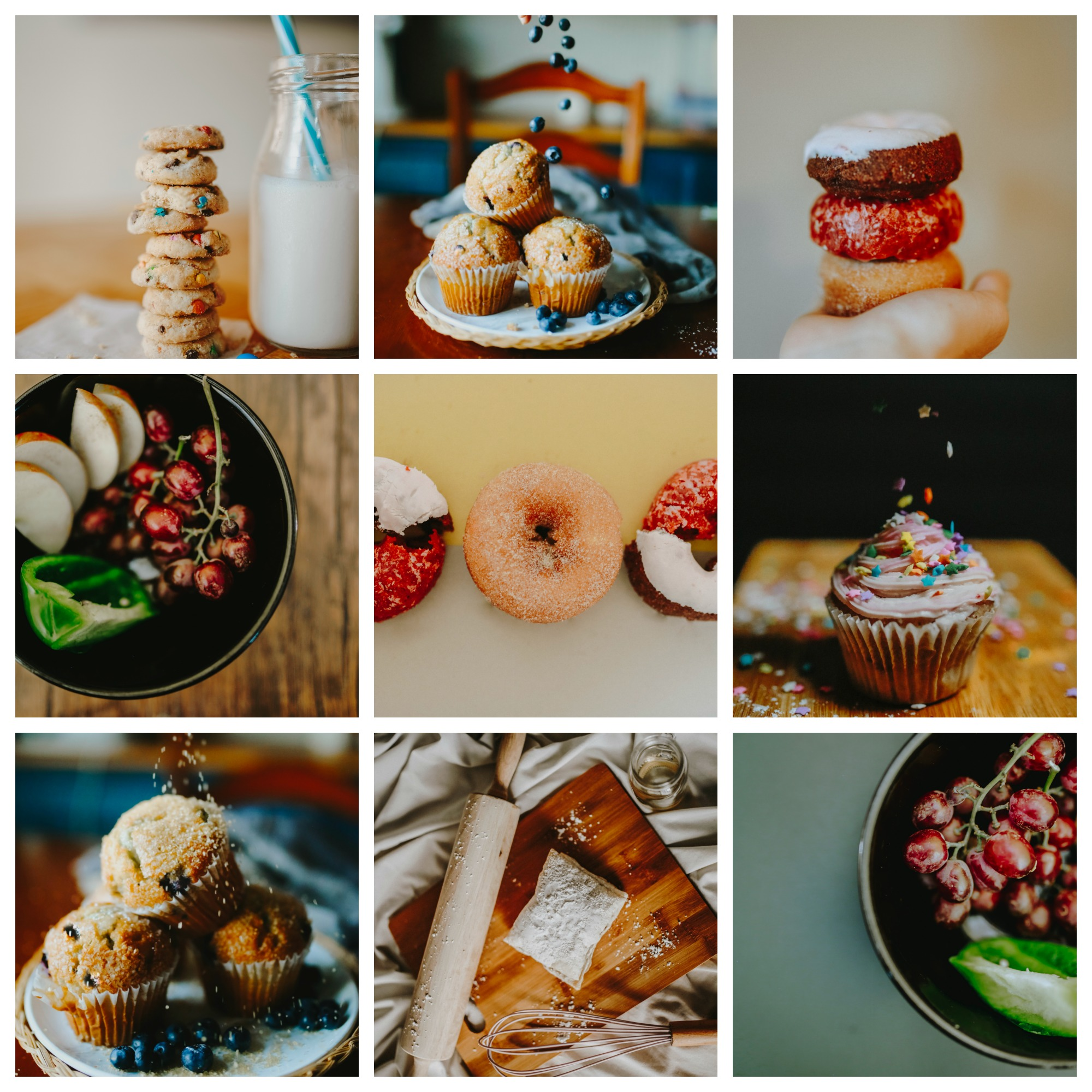 Instagram food Mock up one: - Examples of what an instagram page I put together can look like aesthetically. This example has a mix of red, blue, and green undertones.