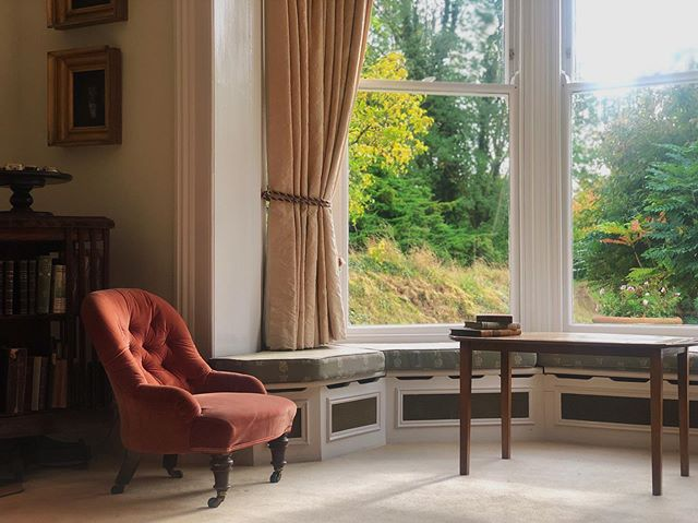 The bay window in the sitting room is the perfect place to sit and read at the end of the day, or just watch the birds 🦉