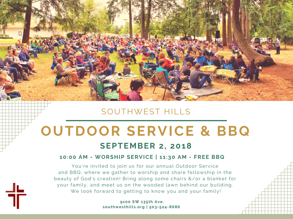 Come join us this Sunday as we worship outside! We will worship in the woods on our property just off of 135th, with a free BBQ to follow.