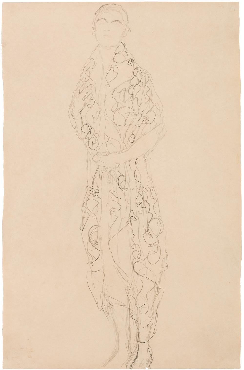 Klimt, Gustav - Stehende etwas nach Links, mit gemustertem Umhang (Studie zum Portrait Elisabeth Lederer), um 1916_web.jpg