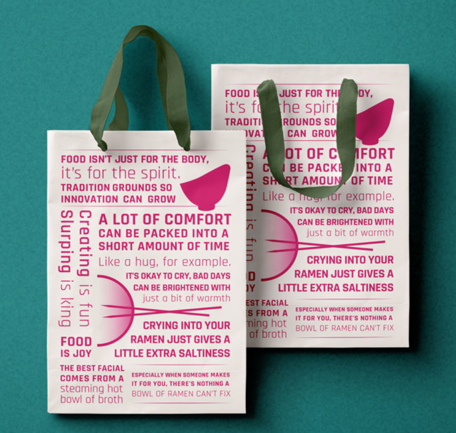 The brand manifesto  will create a memorable and recognizable artifact on to-go bags, and add yet another layer of reinforcement of the core personality of the brand.