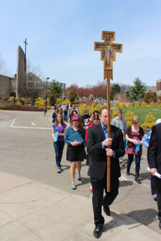 Since 2006, some friends and I have been organizing an annual Good Friday Way of the Cross in Steubenville. Our  Via Crucis  follows the same readings and prayers as the   Way of the Cross over the Brooklyn Bridge  , as well as all the other Good Friday commemorations organized by members of Communion and Liberation, around the world.    READ MORE…