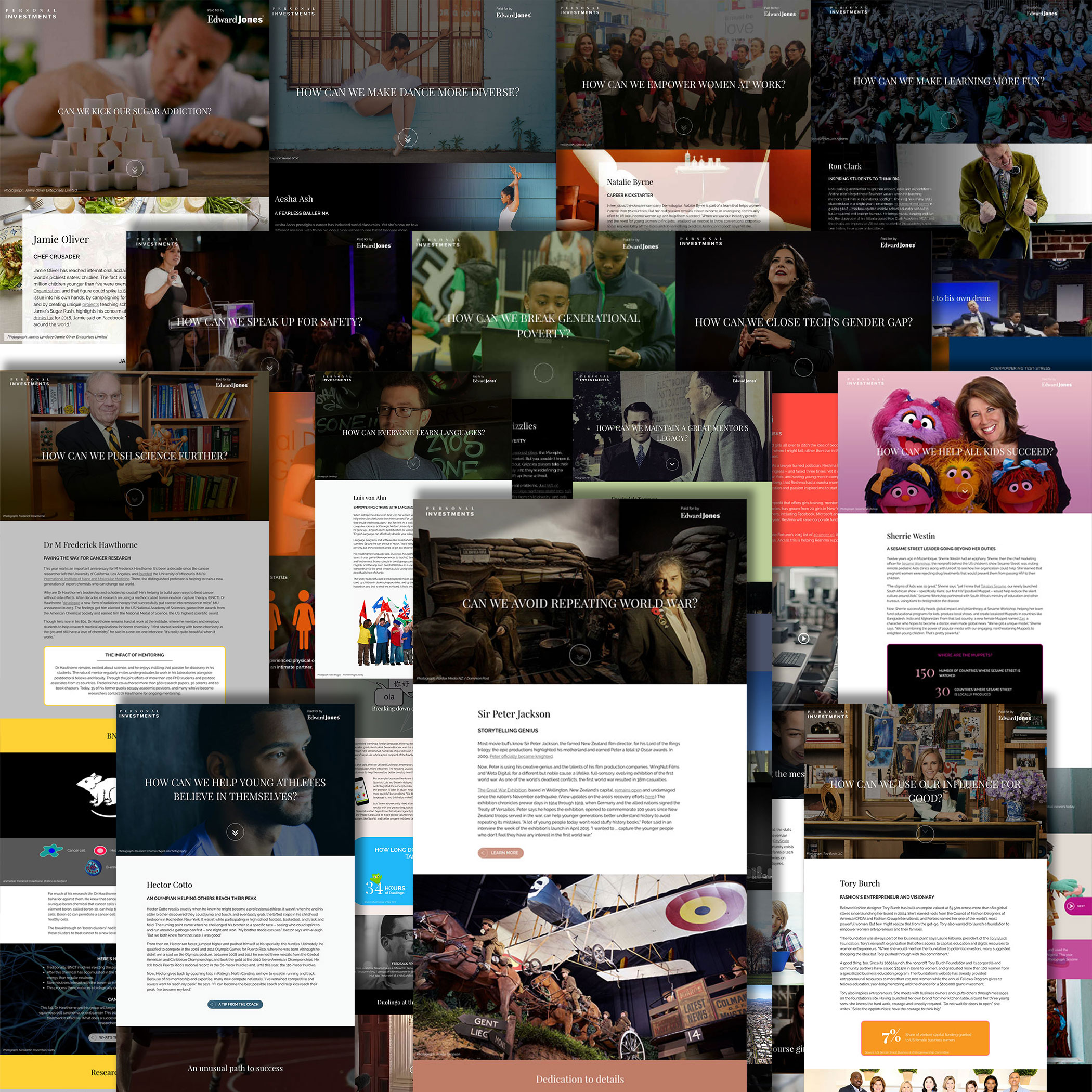 A collage of the 15 interactives for the 2016 Personal Investments series