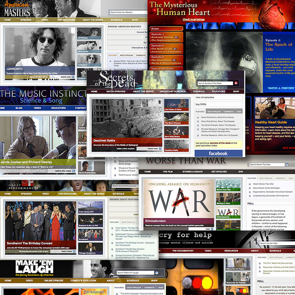 Stills of the homepage from various PBS.org sites that I produced content for and managed during my time as senior producer of interactive at WNET
