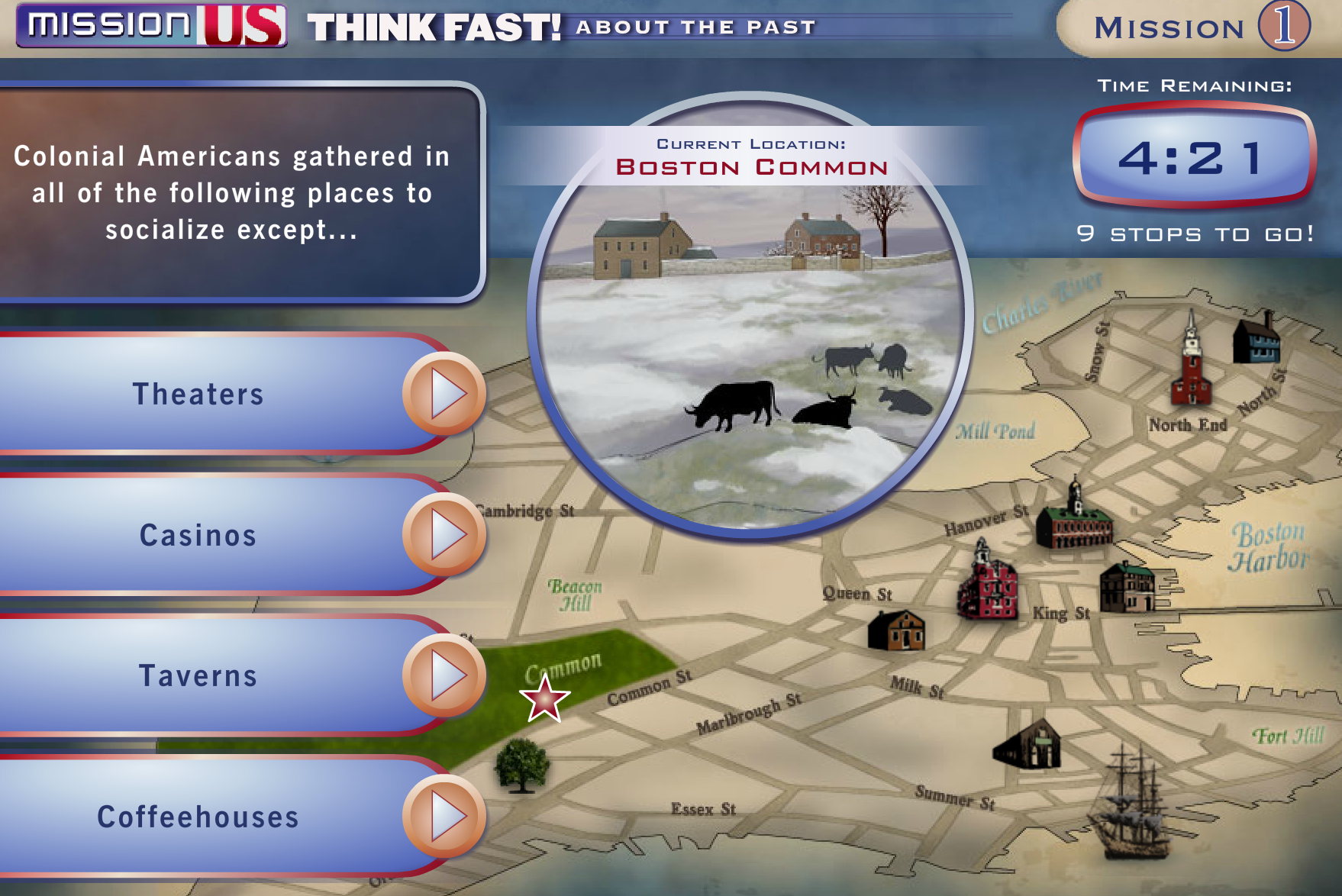 Screen grab from Think Fast About the Past for Mission 1 of Mission US
