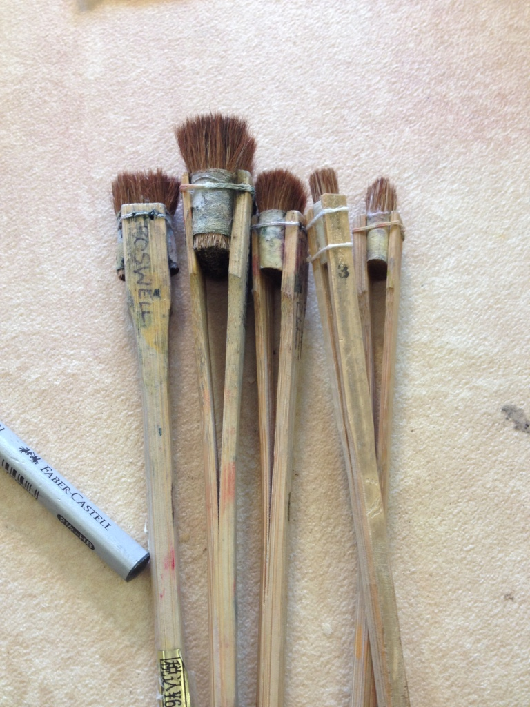 these lovely little deer hair brushes are used to blend watercolour pigment and rice paste over the woodblock
