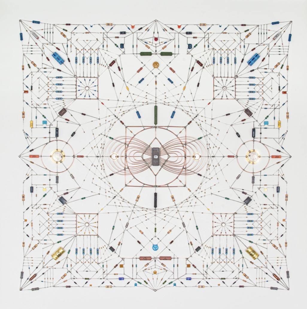 'Technological Mandala 17' by Leonardo Ulian, electronic components and copper wire. © Leonardo Ulian