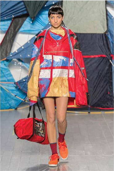 © Bethany_Williams_London Instagram  Recycled tent jacket and bag, prints designed by  @giorgiachiarion