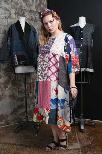 © Claudia Grau  A collage of 1980's Japanese kimonos pieced into a colorful dress with Asian flair