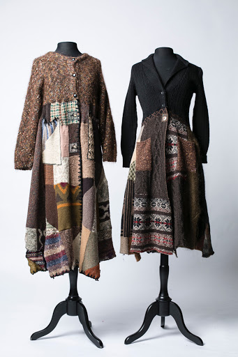 © Claudia Grau  Cut up cashmere sweaters from the Goodwill collaged into one-of-a-kind dresses.