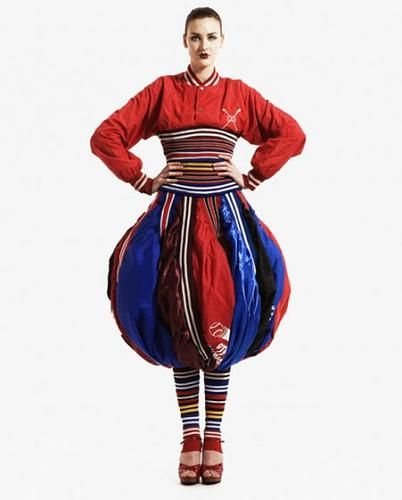 © TreeHugger Website   Baseball Puffball Dress made from 26 non-biodegradable nylon baseball jackets which were discarded at the end of the season; the socks made from the rib cuffs.