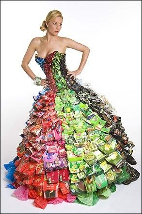 © Gary Harvey Website  Couture ball gown made of cans, bottle tops, cardboard boxes (2014)