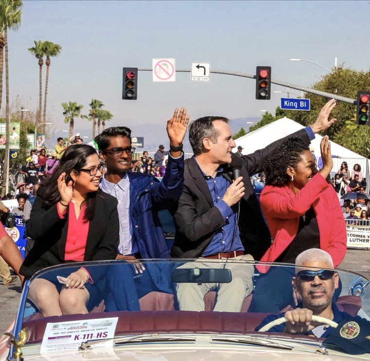Kevin Patel and Los Angeles Mayor Eric Garcetti