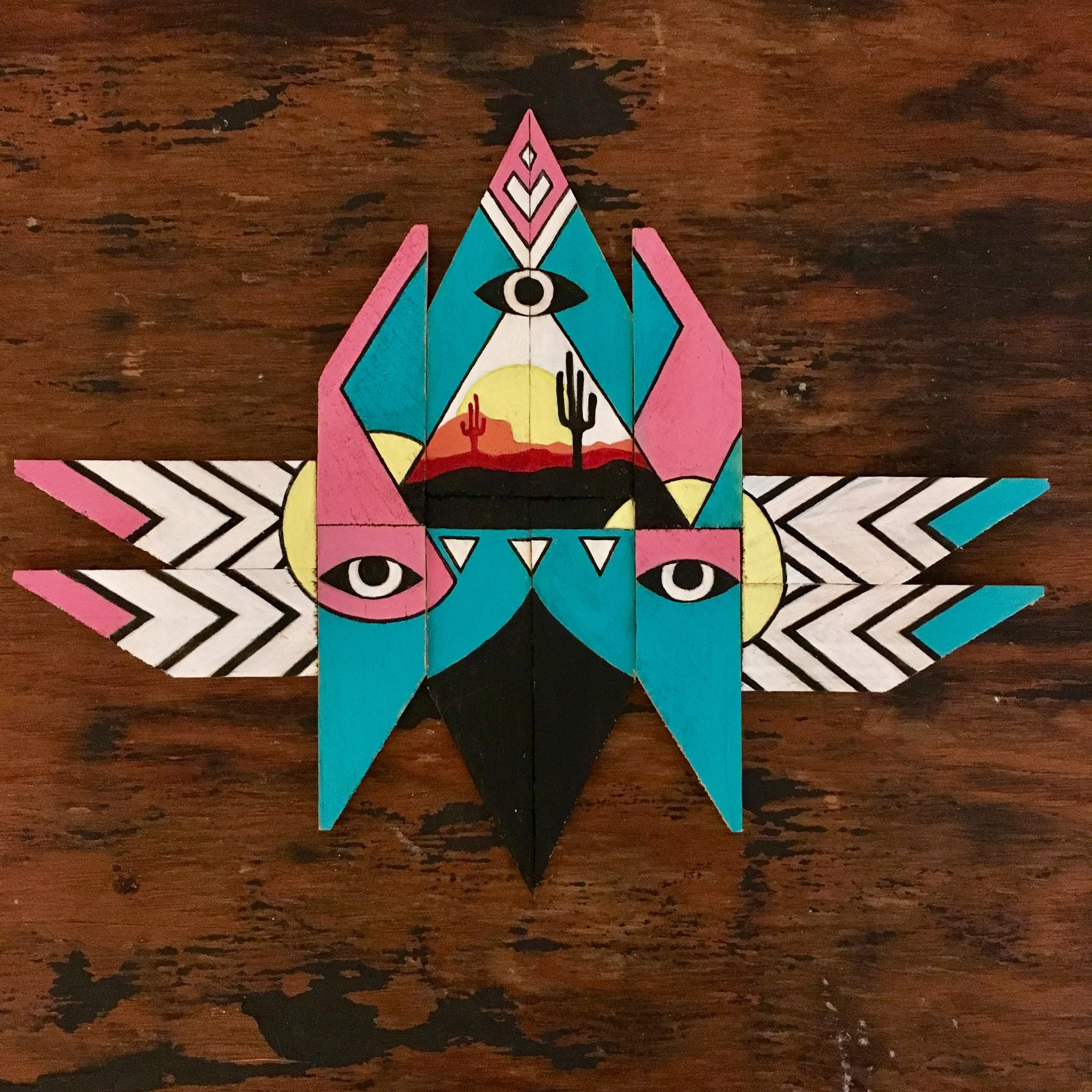 Desert Guardian - Acrylic on wooden canvas keys7