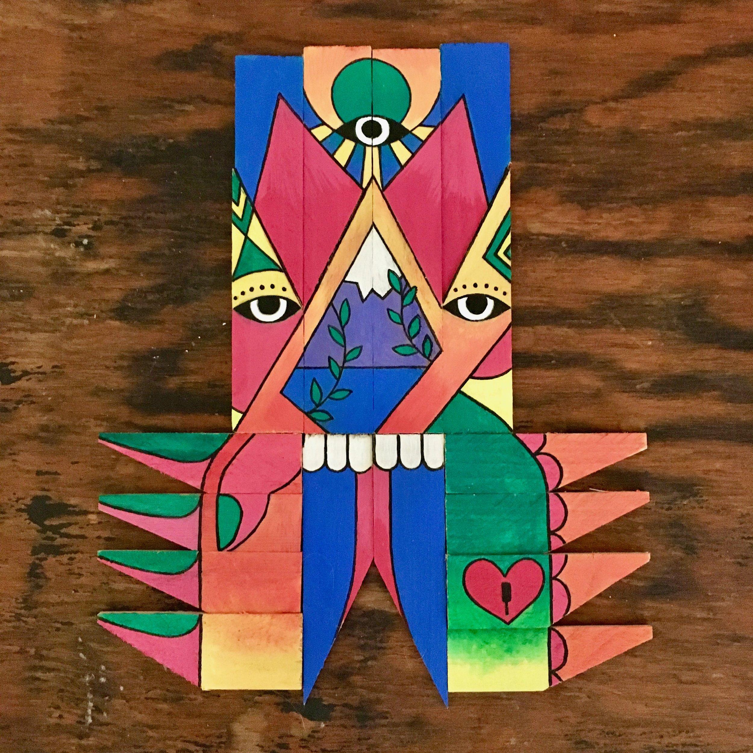 Mountain Guardian - Acrylic on wooden canvas keys8.5