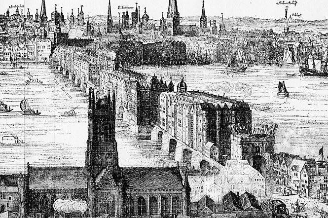 An engraving of the bridge in 1616. Over 200 buildings were built on top.