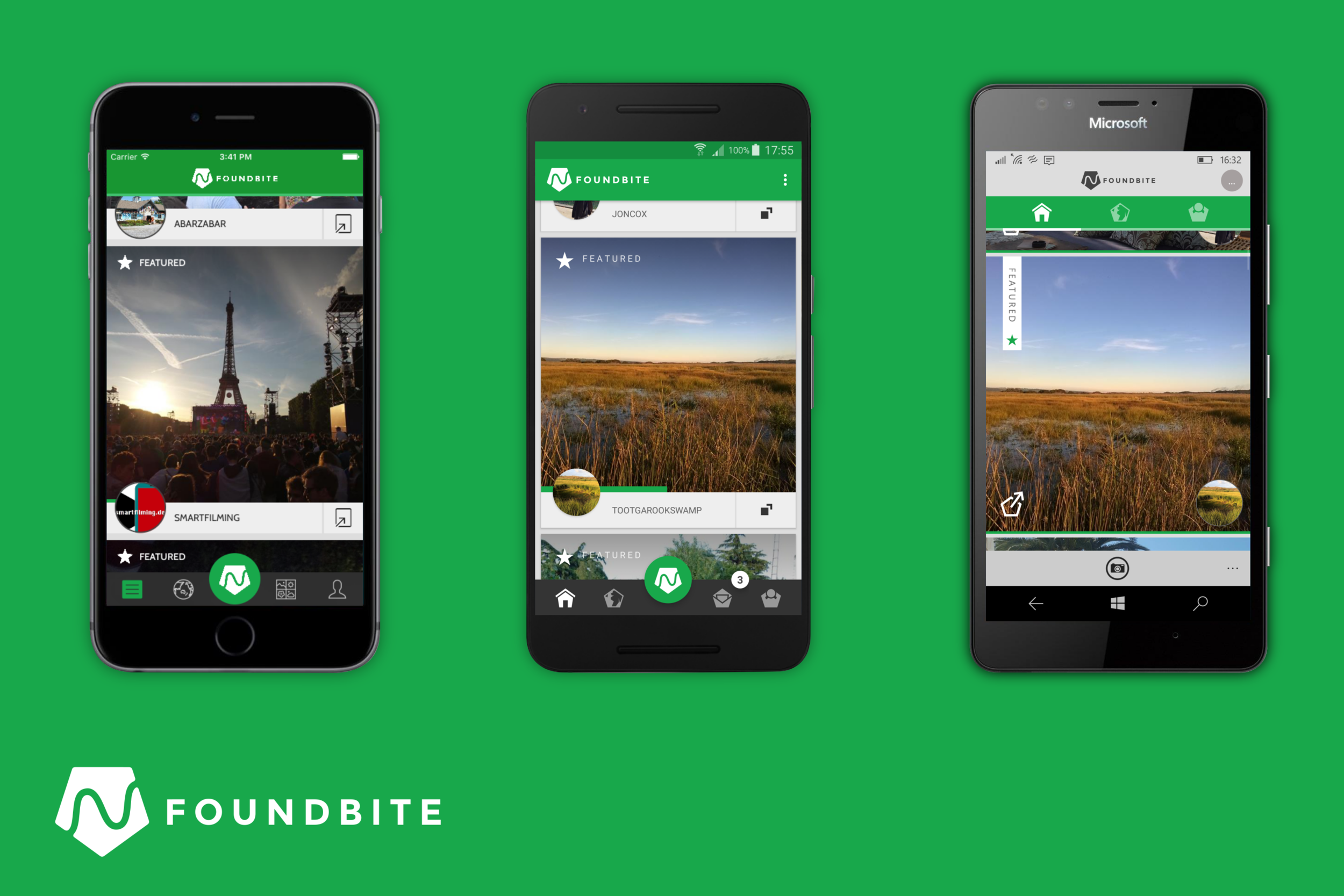 The Foundbite app running on Android, iOS and Windows Phone. Using Xamarin we were able to have a large amount of shared code. We also kept a similar user experience across all apps while keeping each in tune with the design patterns of each platform.