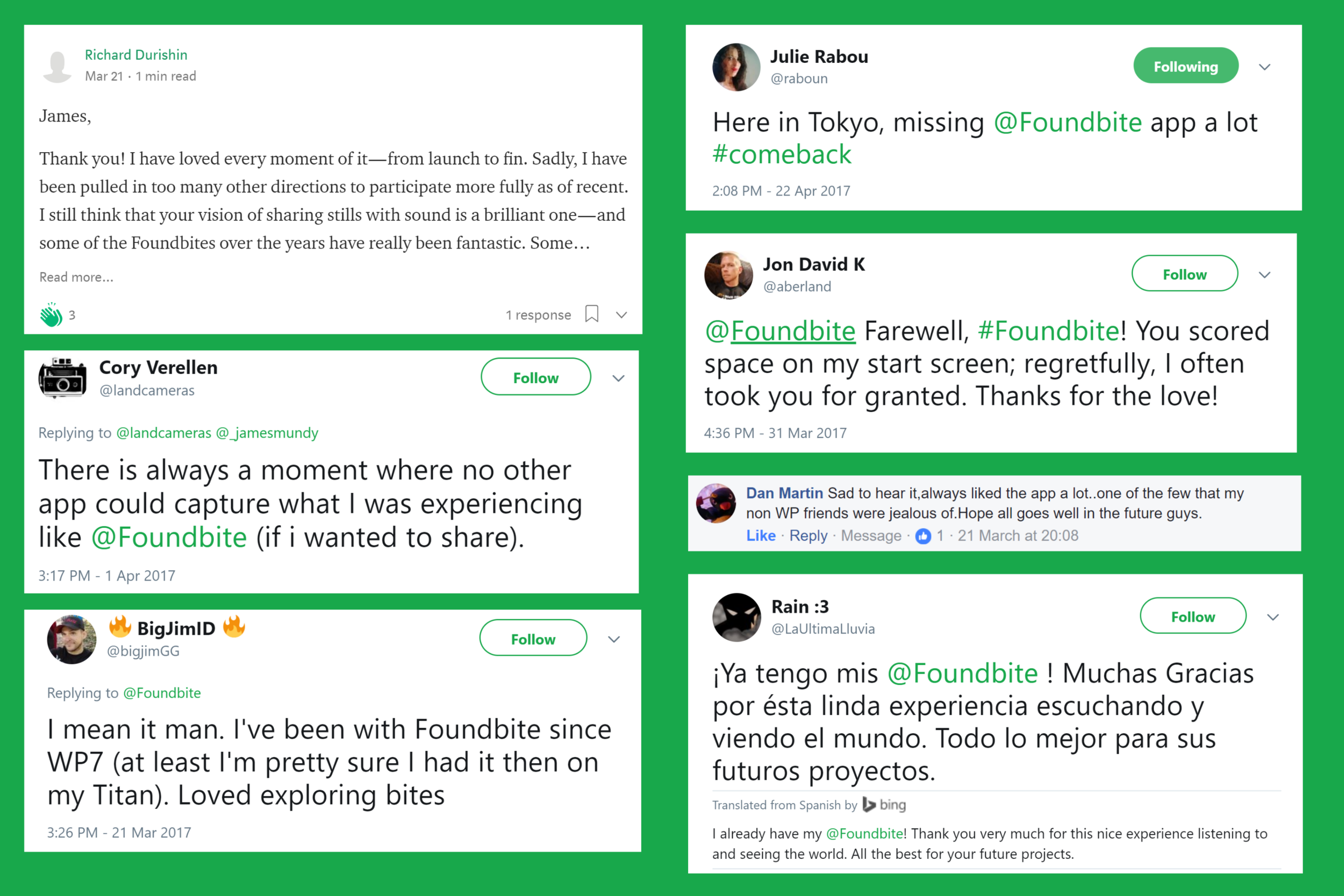 Just some of the comments we received after announcing that we would be closing the app down.