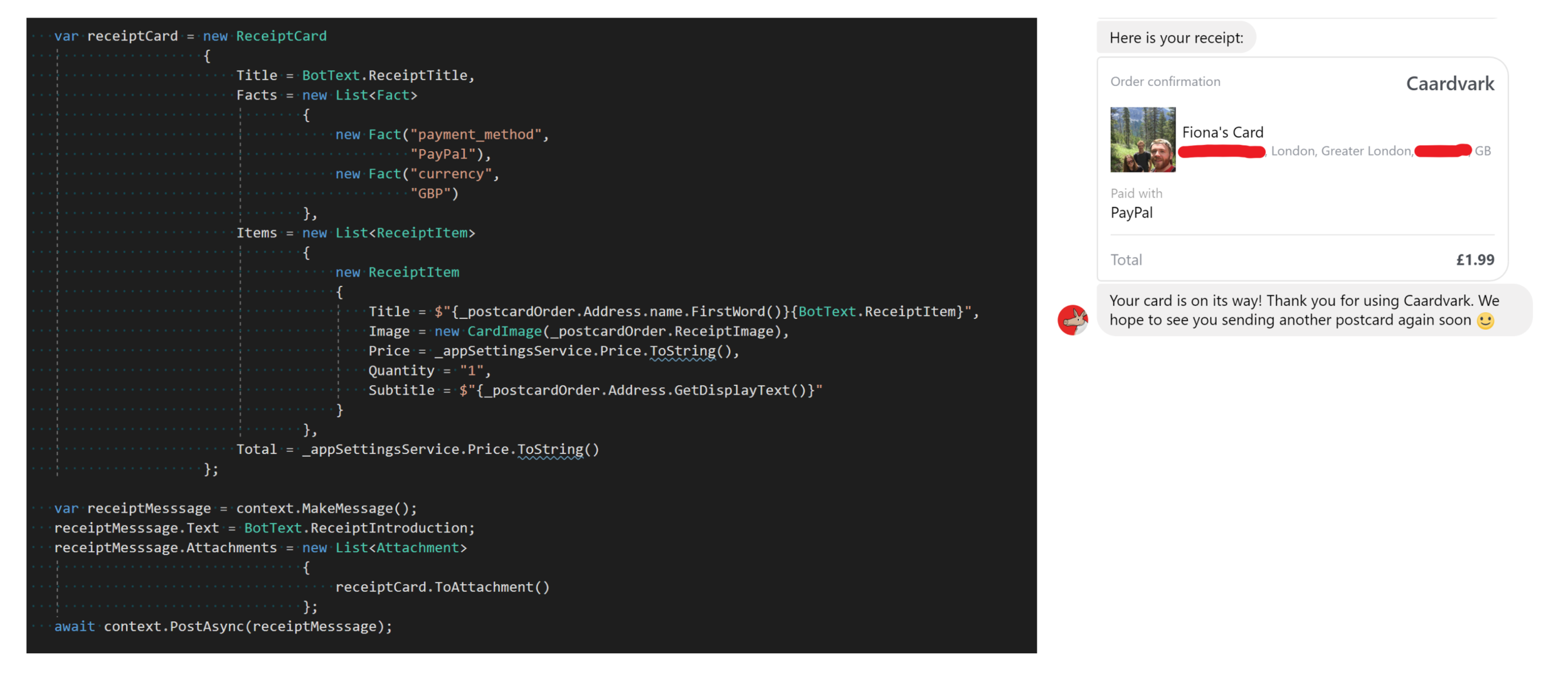 The Bot Framework code on the left to create a  Rich Receipt Card and the output in Facebook Messenger on the right.