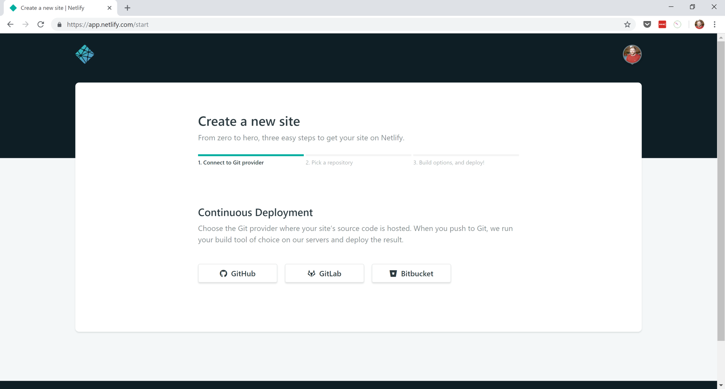 Create a new Netlify site.