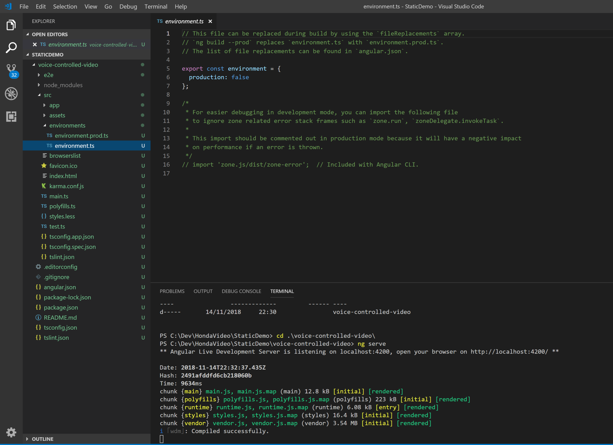 VS Code showing Angular environment files.